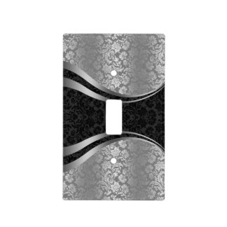 Elegant Black & Silver Gray Floral Damasks Light Switch Cover