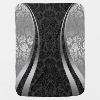 Elegant Black & Silver Gray Vintage Damasks Stroller Blanket