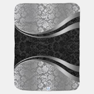 Elegant Black & Silver Gray Vintage Floral Damasks Receiving Blanket