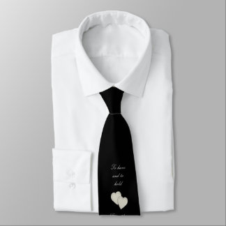 Elegant Black Silver Heart Wedding Tie