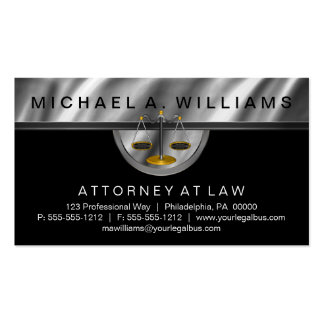 Elegant Black | Silver Lawyer Legal Law Business Business Card