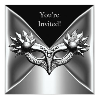 Elegant Black Silver Metal Mask Event Party 2 Card