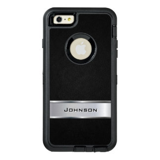 Elegant Black Silver Metallic Look Custom Name OtterBox iPhone 6/6s Plus Case