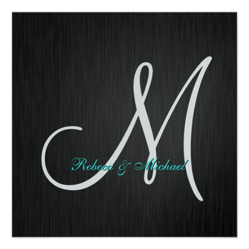 Elegant Black & Silver Monogram Wedding Invitation