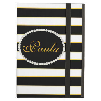 Elegant Black Stripe Monogram Ipad Case