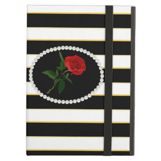 Elegant Black Stripe Red Rose Ipad Case