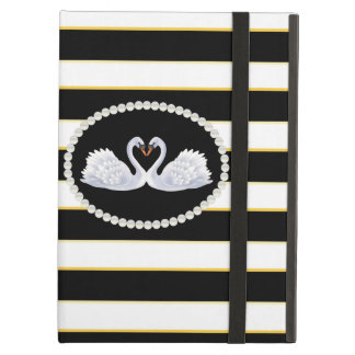 Elegant Black Stripe Swans Ipad Case