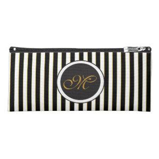 Elegant Black Striped Circle Monogram Pencil Case