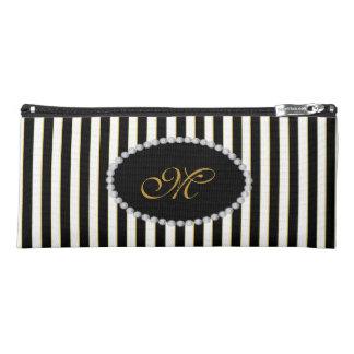 Elegant Black Striped Faux Diamond Monogram Pencil Case
