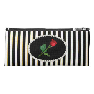 Elegant Black Striped Pearls & Red Rose Pencil Case