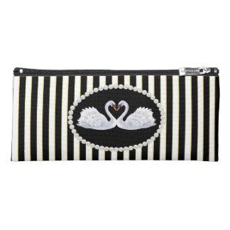 Elegant Black Striped Pearls & Swans Pencil Case
