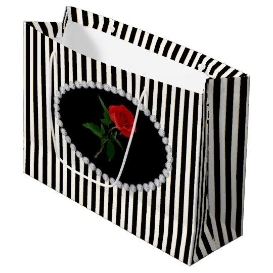 Elegant Black Stripes, Diamonds & Red Rose LG Bag