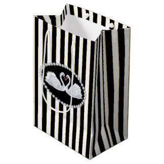Elegant black Stripes, Diamonds & Swans Bag