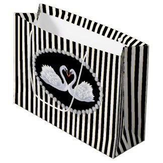 Elegant Black Stripes, Diamonds & Swans LG Bag