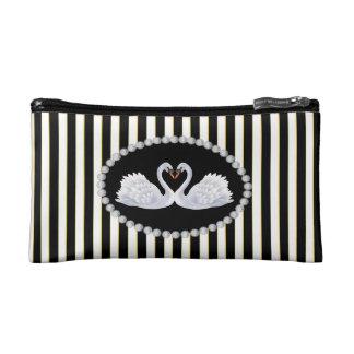 Elegant Black Stripes Faux Diamonds & Swans Bag