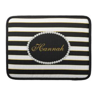 Elegant Black Stripes Monogram Macbook Sleeve MacBook Pro Sleeve