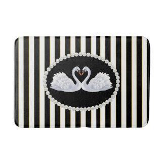 Elegant Black Stripes, Pearls and Swans Bath Mat