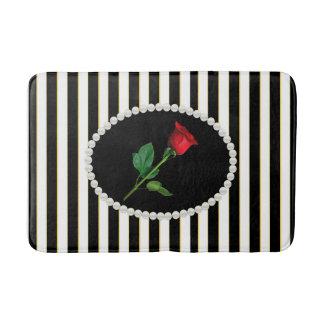 Elegant Black Stripes Pearls & Red Rose Bath Mat