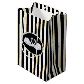 Elegant black Stripes, Pearls & Swans Bag