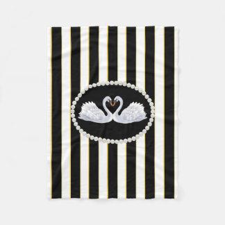 Elegant Black Stripes, Pearls & Swans Fleece