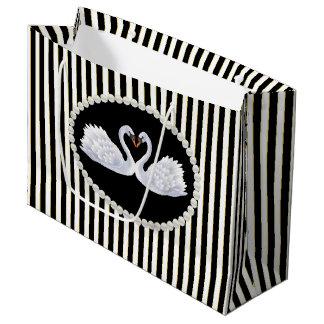 Elegant Black Stripes, Pearls & Swans LG Bag