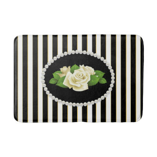 Elegant Black Stripes Pearls & White Rose Bath Mat