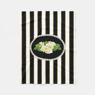 Elegant Black Stripes, Pearls & White Roses Fleece
