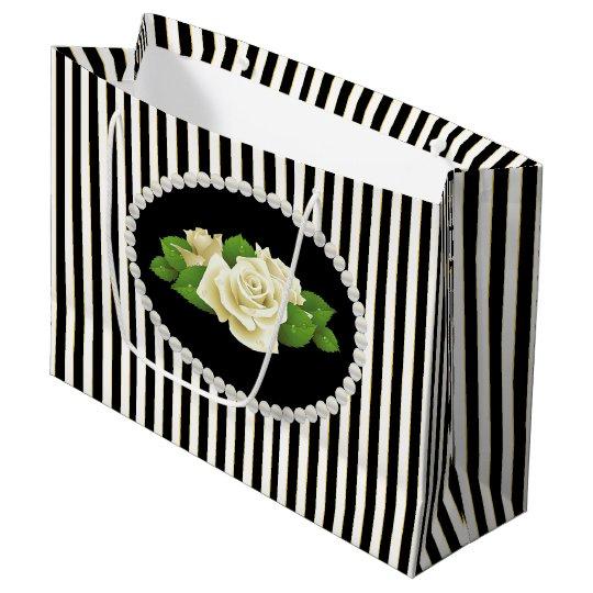 Elegant Black Stripes, Pearls & White Roses LG Bag