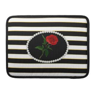 Elegant Black Stripes Red Rose Macbook Sleeve MacBook Pro Sleeves