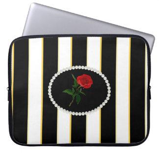 Elegant Black Stripes Sleeve With Red Rose Computer Sleeve