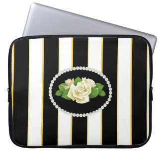 Elegant Black Stripes Sleeve With White Roses