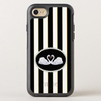 Elegant Black Stripes Swans Case