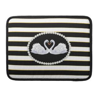 Elegant Black Stripes Swans Macbook Sleeve Sleeve For MacBook Pro