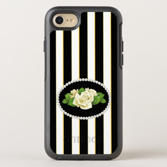 Elegant Black Stripes White Roses Case