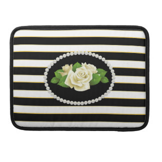 Elegant Black Stripes White Roses Macbook Sleeve Sleeves For MacBook Pro