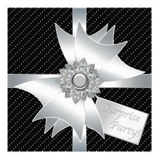 Elegant Black Surprise Birthday Party Invite