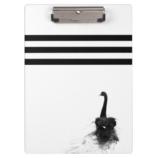 Elegant Black Swan Black & White Stripes Clipboards