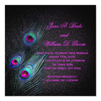 "Elegant Black Teal and Hot Pink Peacock Wedding 5.25"" Square Invitation Card"