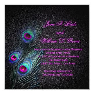 "Elegant Black Teal and Hot Pink Peacock Wedding 5.25"" Square Invitation Card"