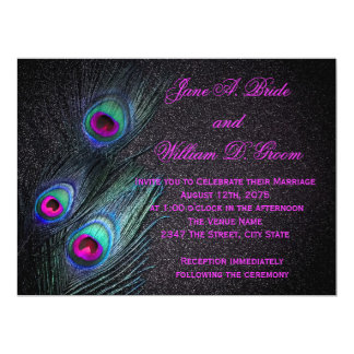 Elegant Black Teal and Hot Pink Peacock Wedding Card