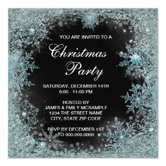 "Elegant Black Teal Blue Snowflake Christmas Party 5.25"" Square Invitation Card"