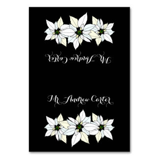 Elegant Black Tented Poinsettias Place Cards Table Card