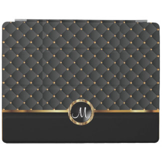 Elegant Black Texture and Gold Pattern - Monogram iPad Cover