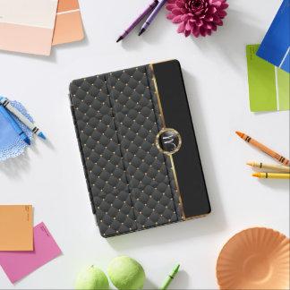 Elegant Black Texture and Gold Pattern - Monogram iPad Pro Cover