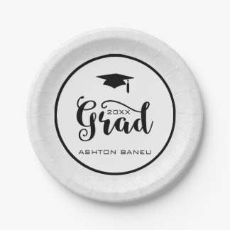 Elegant Black Typography-Graduation Paper Plate