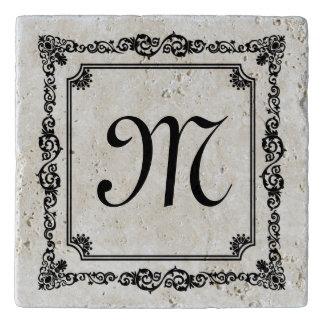 Elegant Black Vintage Floral Frame Monogramed 2 Trivet