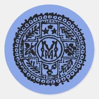 Elegant Black Vintage Monogram Letter M Round Sticker