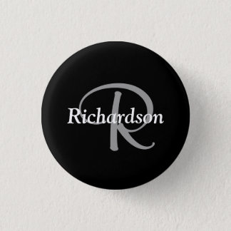 Elegant Black White and Silver Gray Monogrammed 1 Inch Round Button