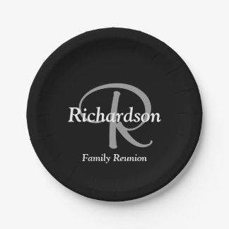 Elegant Black White and Silver Gray Monogrammed Paper Plate