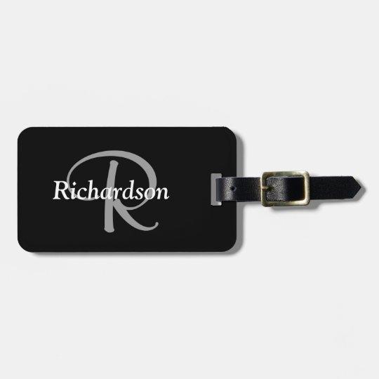Elegant Black White and Silver Grey Monogrammed Luggage Tag